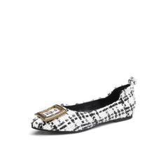 Belle/百丽2018春新品专柜同款白色格子布女休闲鞋S3J1DAQ8