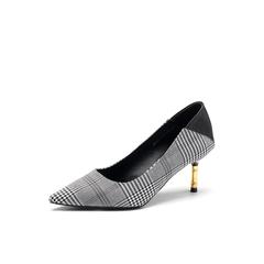 Belle/百丽2018春季新品专柜同款黑格子纺织品/牛皮革女单鞋BRX02AQ8