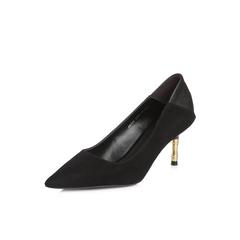 Belle/百丽2018春季新品专柜同款黑色羊绒皮革女皮鞋BRX02AQ8