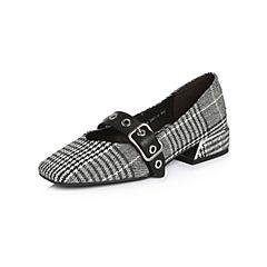 Belle/百丽2018春季新品专柜同款黑色纺织品/牛皮革女单鞋BREA6AQ8