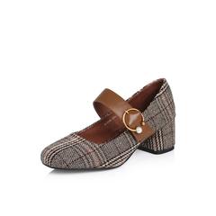 Belle/百丽2018春季新品专柜同款啡色格子布/牛皮女单鞋BOSA8AQ8