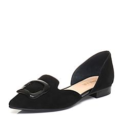 Belle/百丽2018春季新品黑色羊绒皮女皮凉鞋12201AK8