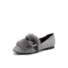 Belle/百丽2018春新品专柜同款灰色格子布/兔毛皮方头低跟女单鞋S3T1DAM8