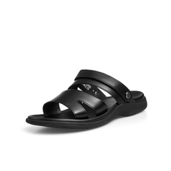 Belle/百丽商场同款黑色牛皮男凉鞋5RZ01BL8