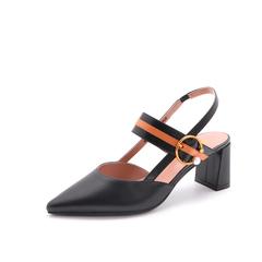 Belle/百丽2018夏新品专柜同款黑/橙油皮胎牛皮女尖头后空粗跟凉鞋BSYA4BH8