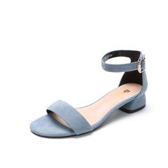 Belle/百丽2018夏新专柜同款兰色羊绒皮革女凉鞋BRU34BL8