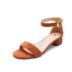 Belle/百丽2018夏新专柜同款棕色羊绒皮革女凉鞋BRU34BL8