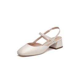 Belle/百麗專柜同款米白珠光羊皮女涼鞋BVS37BH8