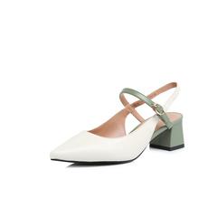 Belle/百丽2018夏新品专柜同款米/绿绵羊皮/牛皮女尖头后空粗跟凉鞋BPT34BH8