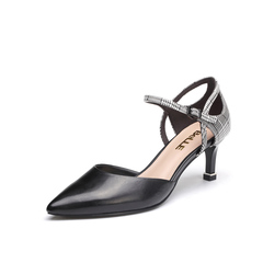 Belle/百丽2018夏新品专柜同款黑/黑白羊皮/牛皮女凉鞋BGAH2BK8