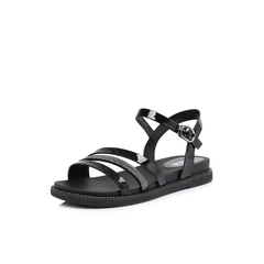Belle/百丽2018夏新品专柜同款黑色人造革/纺织品女凉鞋BPKB8BL8