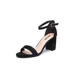 Belle/百丽专柜同款黑色羊绒皮革女凉鞋BPFB6BL8