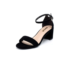 Belle/百丽专柜同款黑色羊绒皮革女凉鞋BLAC3BL8