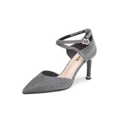 Belle/百丽2018春季新品专柜同款黑银闪光布尖头细高跟女凉鞋BQJ32BK8