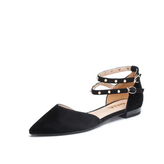 Belle/百丽2018夏新专柜同款黑色羊绒皮革女皮凉鞋BRP36BK8