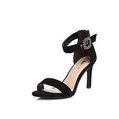 Belle/百麗專柜同款黑色羊絨皮革女涼鞋BVI30BL8
