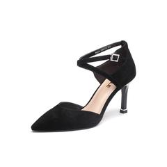 Belle/百丽2018春季新品专柜同款黑羊绒皮尖头细高跟女凉鞋BQJ32BK8