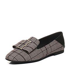 Belle/百丽2018春季新品啡/黑纺织品/羊皮革女单鞋60715AM8