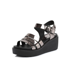 Belle/百丽专柜同款灰色人造革女凉鞋S4J1DBL8