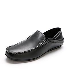 Belle/百丽2018春新黑色牛皮男休闲鞋豆豆鞋86101AM8