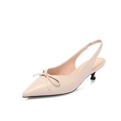 Belle/百丽2018春新品专柜同款米白胎牛皮女蝴蝶结尖头猫跟鞋后空凉鞋S4P1DAH8