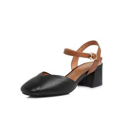 Belle/百丽2018春新专柜同款黑色牛皮革女凉鞋S4V1DAH8