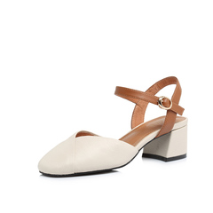 Belle/百丽2018春新专柜同款米白牛皮革女凉鞋S4V1DAH8