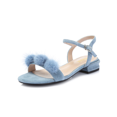 Belle/百丽2018夏专柜同款新兰色羊绒皮革女凉鞋BXL30BL8
