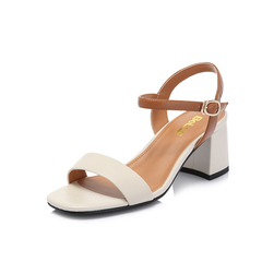 Belle/百丽专柜同款荔纹牛皮革/羊皮革女皮凉鞋BYK31BL8