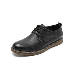 Belle/百麗秋專柜同款黑色打蠟牛皮革系帶男皮鞋B3H10CM8