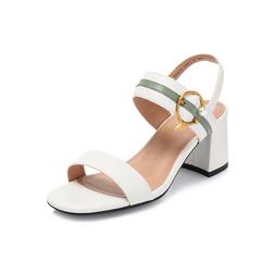 Belle/百麗專柜同款米/綠胎牛皮革女皮涼鞋BYK33BL8