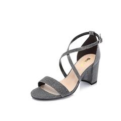 Belle/百丽专柜同款黑银亮线布女凉鞋BPFE6BL8