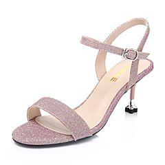 Belle/百丽亮线布四叶草细高跟女凉鞋BPFE2BL8