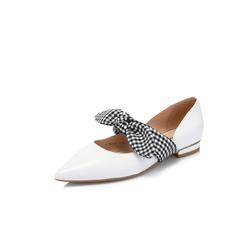 Belle/百麗專柜同款白色羊皮革/格子布女涼鞋S6J1DAK8