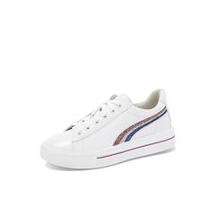 Belle/百丽2018秋专柜新款白色牛皮革女皮鞋BUR20CM8