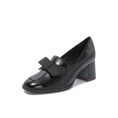 Belle/百丽2018秋季专柜新款皱漆皮牛皮革蝴蝶结粗高跟女单鞋BVH20CM8