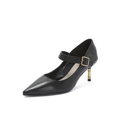 Belle/百丽2018秋季专柜新款油皮小牛皮革金属细跟玛丽珍鞋女单鞋BRX12CQ8