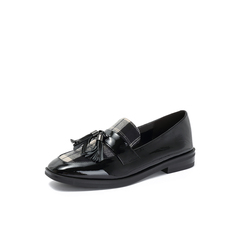 Belle/百丽2018秋季专柜新款皱漆皮牛皮革格子英伦乐福鞋女单鞋BLNH9CM8