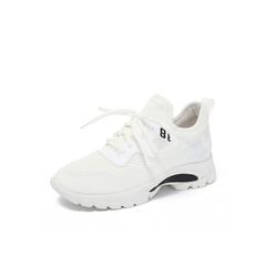 Belle/百丽2018秋专柜新款白色弹力布运动风女休闲鞋S7H1DCM8