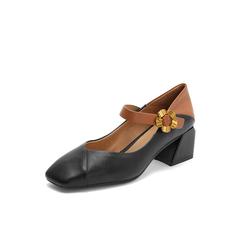 Belle/百丽2018秋专柜新款黑色金属花朵装饰牛皮革玛丽珍女单鞋S7T1DCQ8