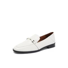 Belle/百丽白色羊皮革低跟乐福鞋休闲女单鞋S7S1DCM8