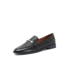 Belle/百丽黑色羊皮革低跟乐福鞋休闲女单鞋S7S1DCM8