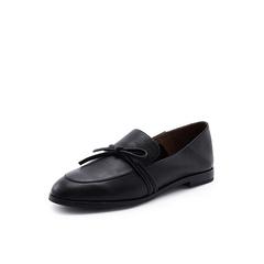 Belle/百丽2018秋专柜新款黑色牛皮革乐福鞋女休闲鞋S7C1DCM8