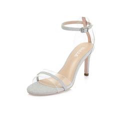 Belle/百丽专柜同款白/银人造革细高跟露趾一字式扣带女凉鞋BVI37BL8