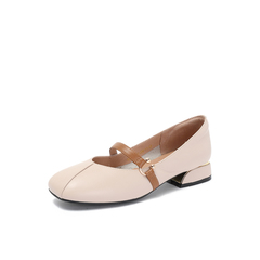 Belle/百丽2018秋季专柜新款米白牛皮革复古奶奶鞋女单鞋S7J2DCQ8