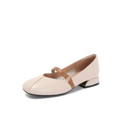 Belle/百丽专柜同款米白牛皮革复古奶奶鞋女单鞋S7J2DCQ8