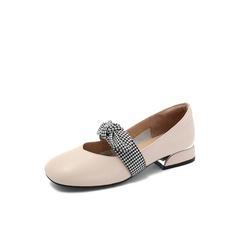 Belle/百丽2018秋专柜新款牛皮革蝴蝶结奶奶鞋女单鞋S7J3DCQ8