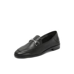 Belle/百丽2018秋新黑色绵羊皮革休闲一脚套乐福鞋女单鞋BTB22CM8