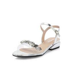 Belle/百丽专柜同款皱漆皮牛皮革/胶片闪钻女凉鞋BWC38BL8