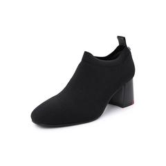 Belle/百丽2018秋专柜新款黑色闪光弹力布粗高跟袜鞋女单鞋BC220CM8